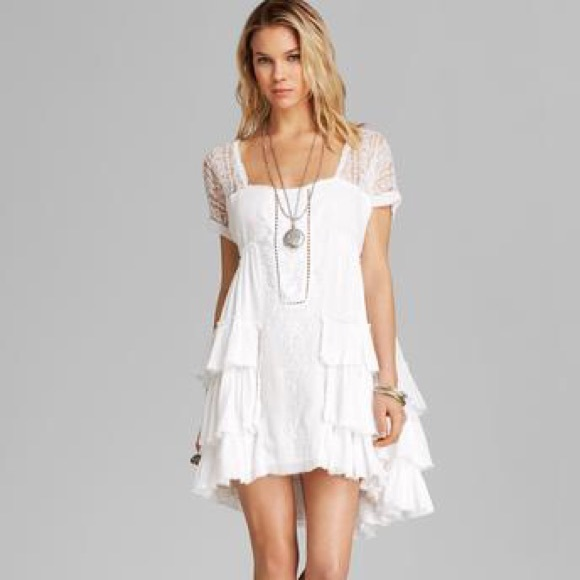 Free People - *Bundled*Free People Tiered Gauze Lace Dress White ...