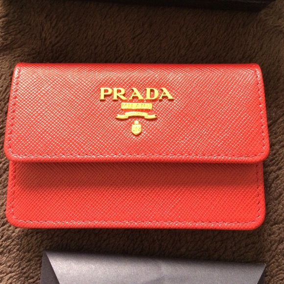 Prada bags business card holder red poshmark prada business card holder red colourmoves