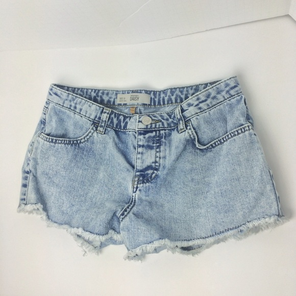 Topshop Jeans - Topshop Moto Daisy Bleach Washed Denim Shorts
