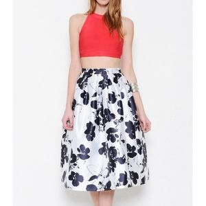 """The Beauteous Flower"" Floral Print Flare Skirt"