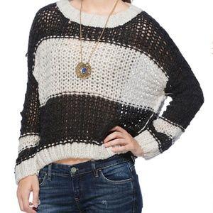 Free People Monaco Sweater Charcoal Combo Black L