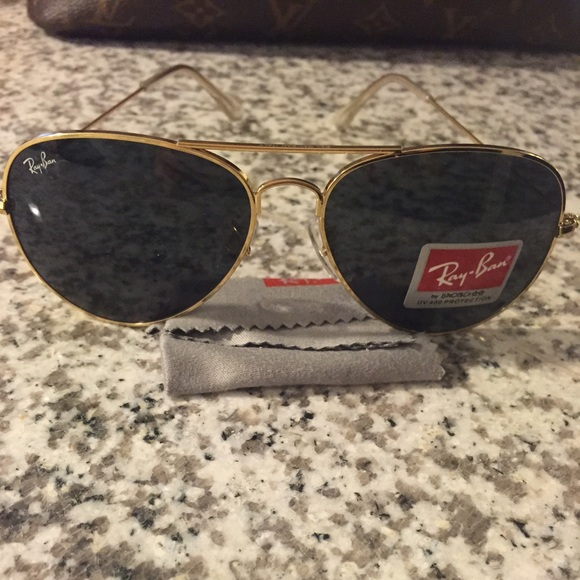 ray ban black glass with golden frame  ray ban accessories ray ban aviators gold frame black lens