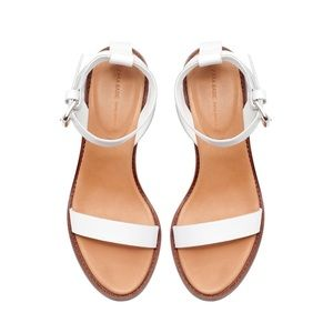 Zara White Block Sandal with Ankle Strap