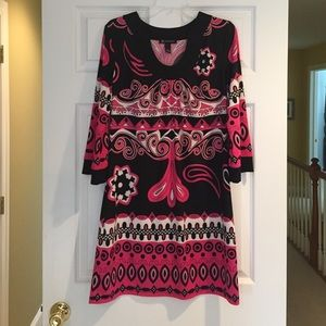 INC Pink, Black and White Patterned Shift Dress