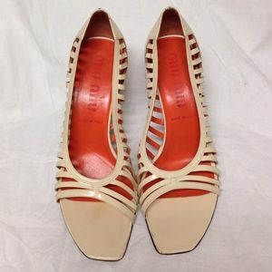 MIU MIU OPEN TOE PUMPS SIZE 39.5..U.S/9.5..IVORY