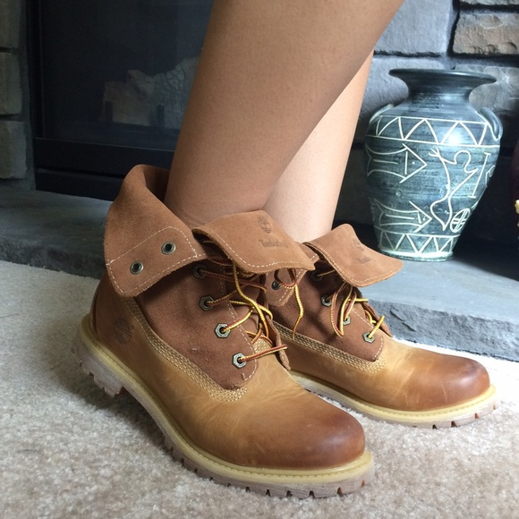 timberland brown roll top boots