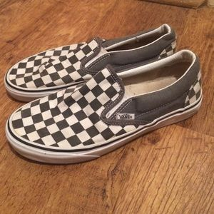 be38a407f46 Vans Shoes - VANS Grey   White Checkered Slip Ons-Barely Worn!