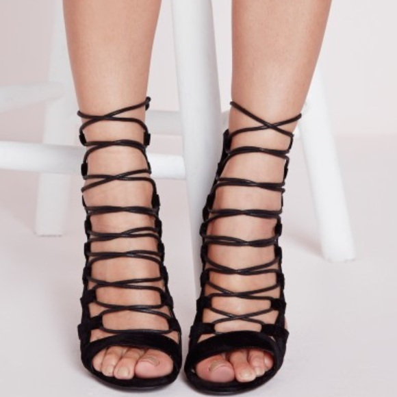 Nasty Gal - Missguided peep toe lace up heel black suede from ...