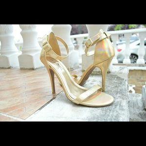 Gold Metallic Single Strap Heels