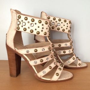 ALDO Shoes - Aldo Strappy Studded Leather Ivory Sandals 6.5