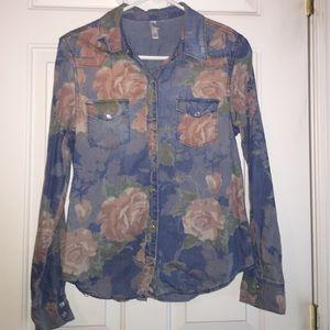 Floral print denim top