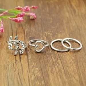 Leaf and heart midi knuckle ring set