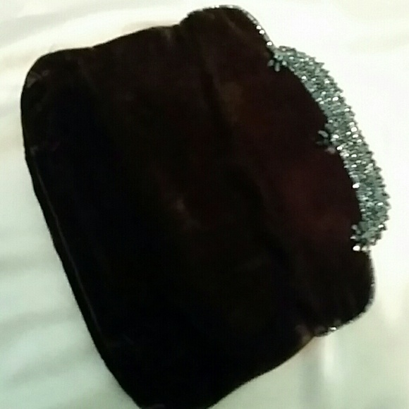 Magid,hand beaded Bags - Vintage  ,black velvet  clutch