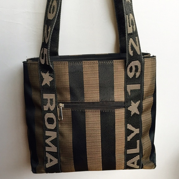 16b0df076499 Fendi Roma Italy 1925 Styled Bag Handbags - Roma Italy 1925 Striped  Shoulder Bag