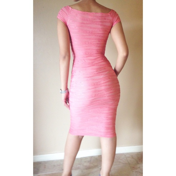 American Apparel - Pink Textured Fitted Dress from Ley&-39-s closet on ...