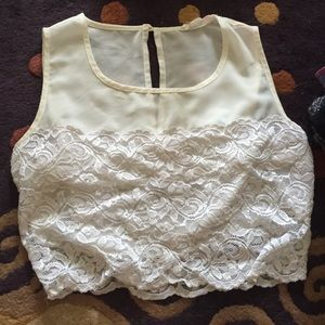 White Lace Crop Top W/ Sheer Top