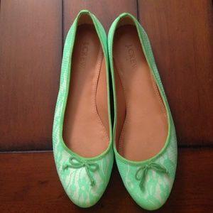 Jcrew factory lime green lace ballet flats