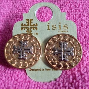 Gold pierced earrings