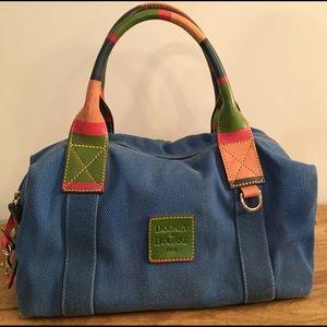 Dooney&Bourke blue canvas satchel w/ multi handle