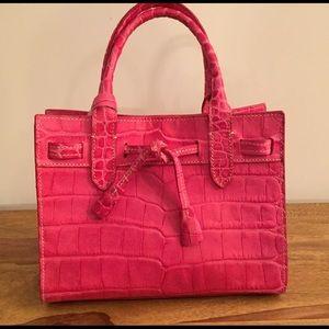 Dooney&Bourke croc embossed pink leather handbag