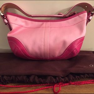 Coach handbag, pink cotton,pink leather trim