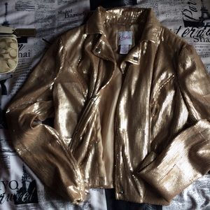 Candie's Jackets & Blazers - Gold sequined Moto jacket