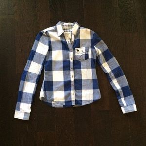 A&F Blue and White Plaid Button Up