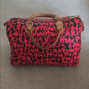 Auth Louis Vuitton monogram speedy 30 Graffiti