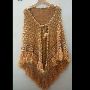 Sweaters - Vintage crochet fringe poncho