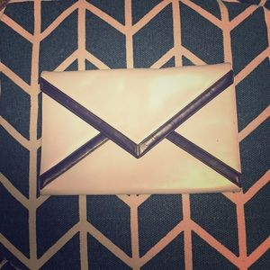 Vintage White and Navy Leather Envelope Clutch