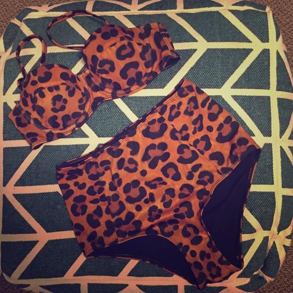 6ee3d0c2924 Leopard High Waisted Bikini Set NWT