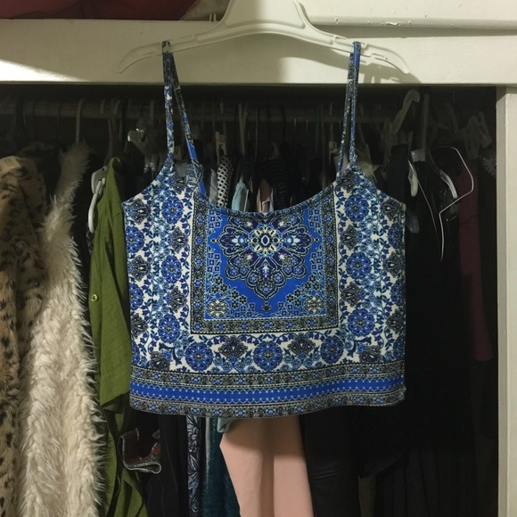 a0a1903ce9fce Topshop folk tile carpet crop top blue black white.  M 559e1b6dc402ae7efb02578a
