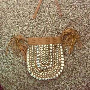 Studded cross body satchel