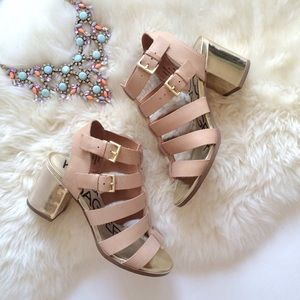 Nude Gladiator Sandals with Gold Heel Detail