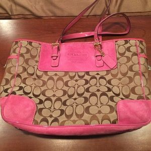 Coach Large hot pink suede tote bag