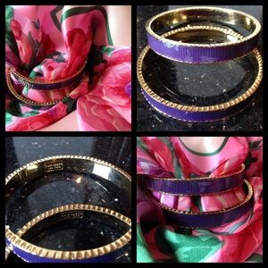 Two Kate Spade Purple Ribbon Bangle Bracelet NWOT