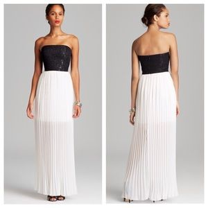 Aidan Maddox Strapless Contrast Dress NWT