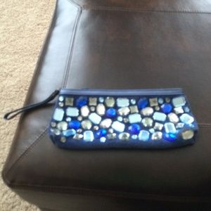 Blue Arden B embellished clutch.