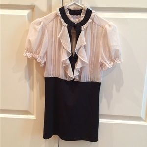Charlotte Russe Black/Cream Ruffle Top