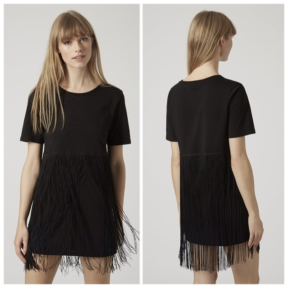 fringe tshirt dress