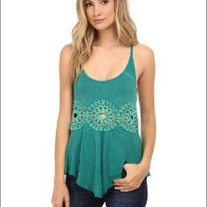 NWT FP lace embroidered green tank top