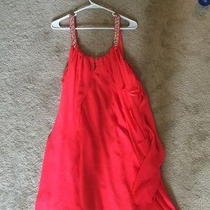 Fuchsia beaded strap draped dress