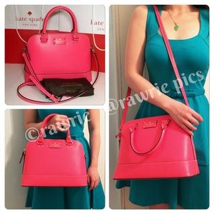 New Kate Spade hot pink leather Domed Satchel