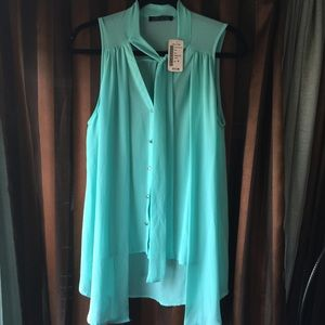 NEW Teal with Silver Shiny Buttons Summer Blouse