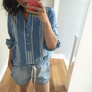 Madewell Tops - Madewell striped chambray popover