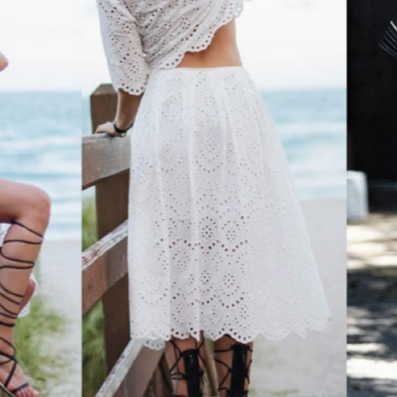 25% off Zara Dresses & Skirts - Zara White eyelet skirt from ...