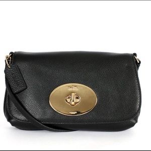 COACH PEBBLED LEATHER CLUTCH BLACK CROSSBODY