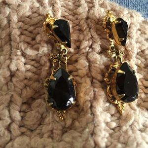 Elegant Gold Tone and Black Faceted Glass Earrings