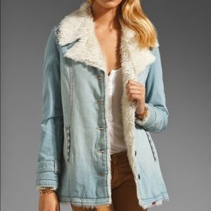 Free People Nordic denim Sherpa jacket coat small