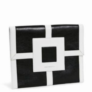 "JONATHAN ADLER ""Nixon"" Black/White Leather Clutch"